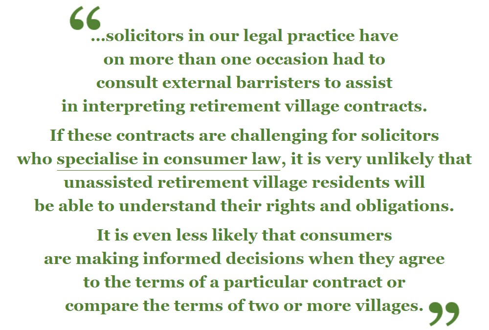 Retirement village quote from the Consumer Action Law Centre